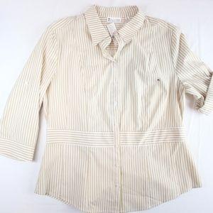 NY&C Beige White Striped Button Down Shirt XL